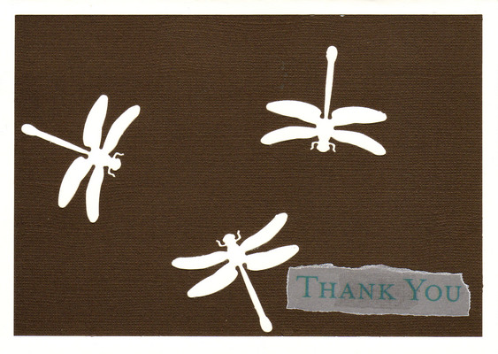 155 - 'Thank you' atop deep brown paper with dragonfly cutouts on a white card