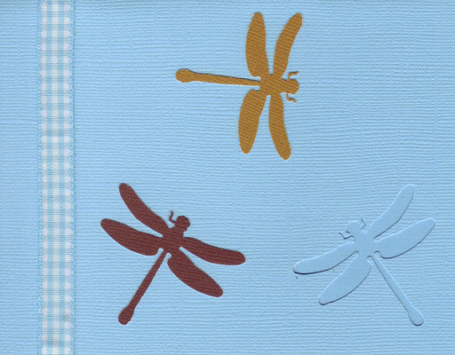 156 - Dragonflies on a blue card with checkered ribbon highlight