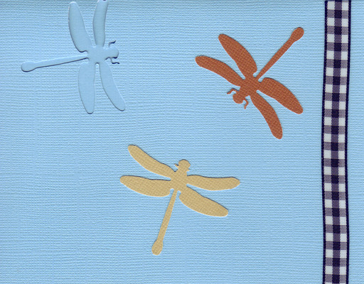 158 - Dragonflies on a blue card with checkered ribbon highlight