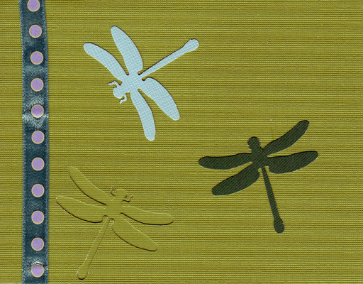 159 - Dragonflies on a green card with dotted ribbon highlight