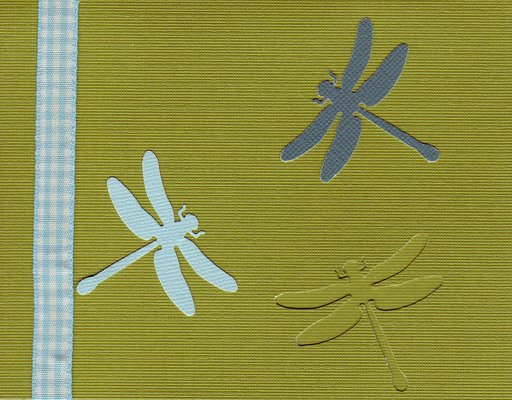 160 - Dragonflies on a green card with checkered ribbon highlight