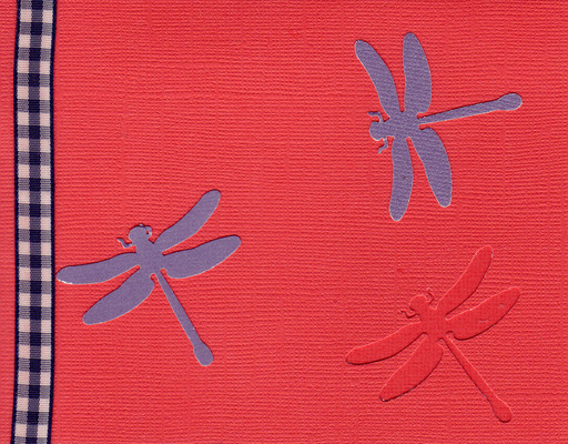 161 - Dragonflies on a red card with checkered ribbon highlight