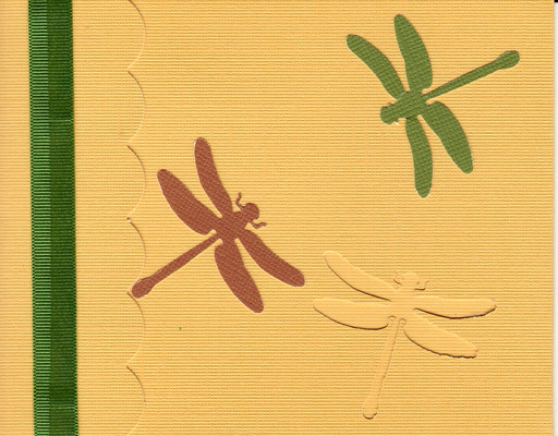 162 - Dragonflies on a yellow card with striped ribbon highlight and scalloped flap