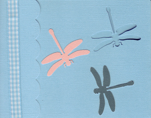 163 - Dragonflies on a blue card with checkered ribbon highlight and scalloped flap