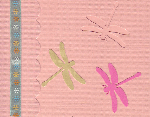164 - Dragonflies on a pink card with starred ribbon highlight and scalloped flap