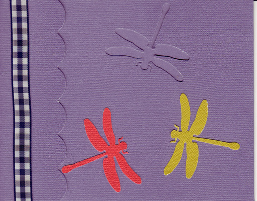 166 - Dragonflies on a purple card with checkered ribbon highlight and scalloped flap