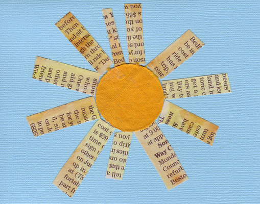 002 - Funky newspaper and yellow paper sun on textured blue card