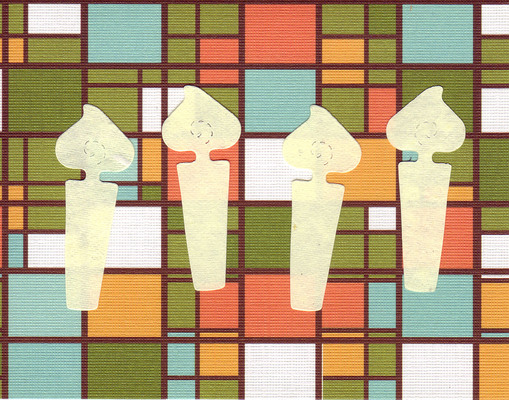 006 - Four ivory candles on a retro 'stained glass' patterned card