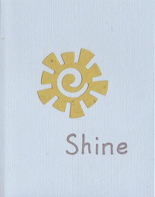 010 - 'Shine' on a sky-blue card with a tan funky-shaped sun cutout