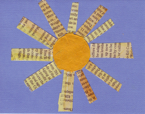 (SOLD) 011 - Funky newspaper and yellow paper sun on textured dusk-blue card