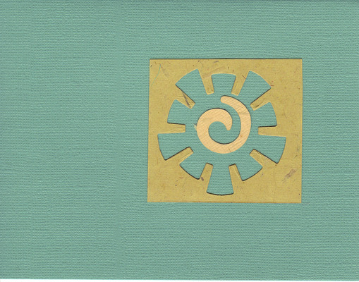 015 - Tan paper with a funky sun cutout on a seafoam-green card