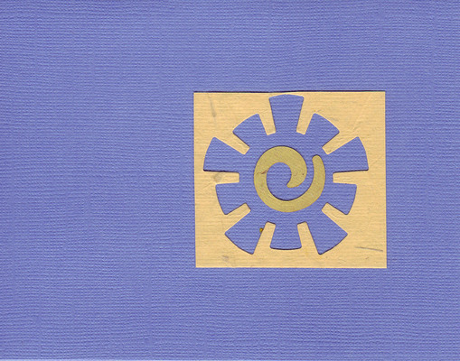 016 - Tan paper with a funky sun cutout on a Persian blue card