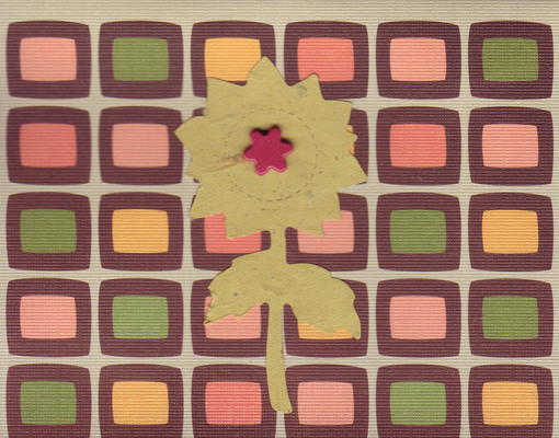 020 - Sunflower with a star over funky retro patterned card