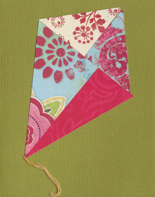 (SOLD) 027 - Mixed paper kite over deep green card