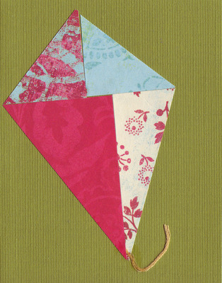 028 - Mixed paper kite over deep green card