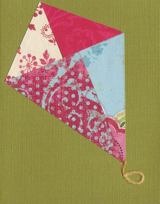 029 - Mixed paper kite over deep green card