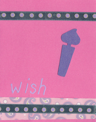 (SOLD) 033 - 'Wish' with birthday candle and funky paper on pink card