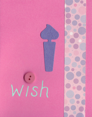 035 - 'Wish' with birthday candle and bubble paper on pink card