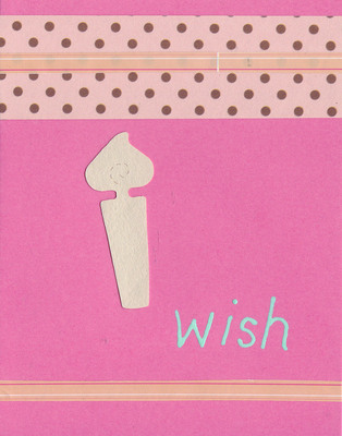 (SOLD) 036 - 'Wish' with birthday candle and dotted paper on pink card
