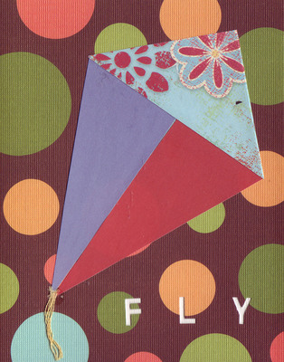 037B - 'Fly' set on bubble patterned paper, kite card