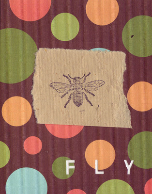 037C - 'Fly' set on bubble patterned paper, honeybee card