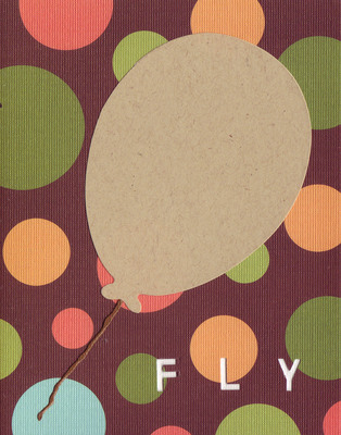 037D - 'Fly' set on bubble patterned paper, balloon card