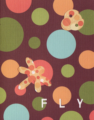 037E - 'Fly' set on bubble patterned paper, dragonfly and ladybug card