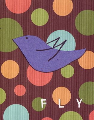 037F - 'Fly' set on bubble patterned paper, bird card