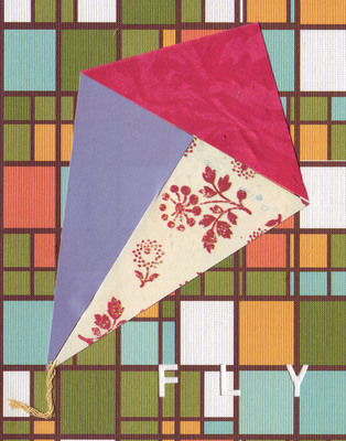 038B - 'Fly' set on stained glass patterned paper, kite card