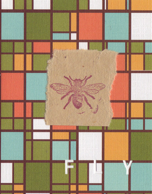 038C - 'Fly' set on stained glass patterned paper, honeybee card