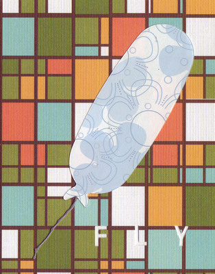 038D - 'Fly' set on stained glass patterned paper, balloon card