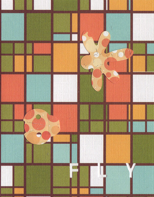 038E - 'Fly' set on stained glass patterned paper, dragonfly and ladybug card