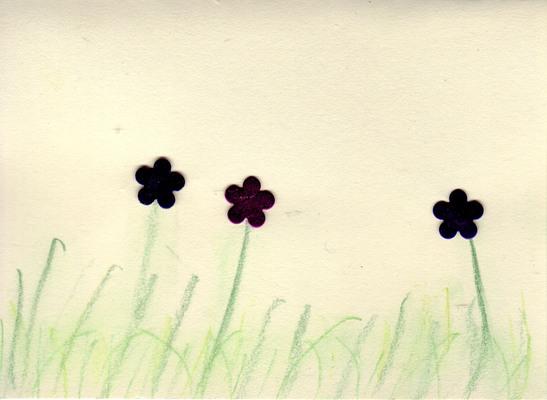 040 - Shiny metallic flowers with chalked foliage on beige card