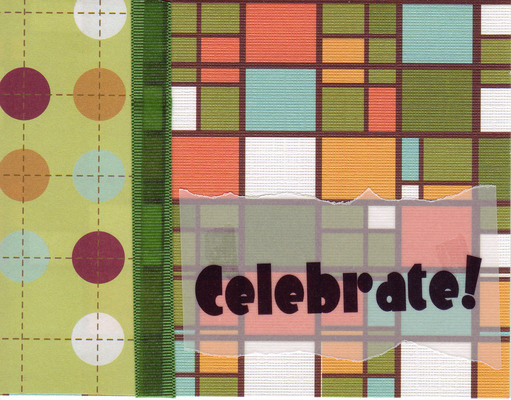 (SOLD) 045 - 'Celebrate' on vellum overlaid on stained glass cardstock with a ribbon