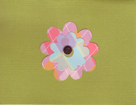 001 - Retro autumn flower on textured olive paper